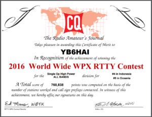 WW WPX RTTY 2016 award