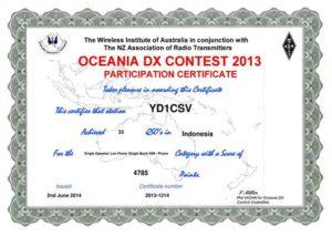 YD1CSV OCEANIA SSB 2013